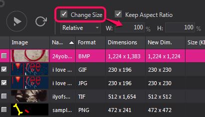 set output size