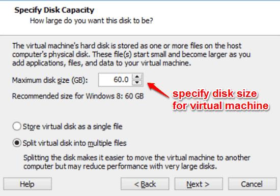 specify virtual machine disk size