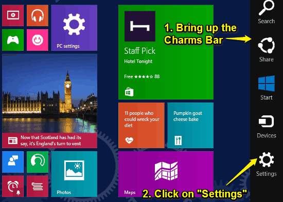 start screen and charms