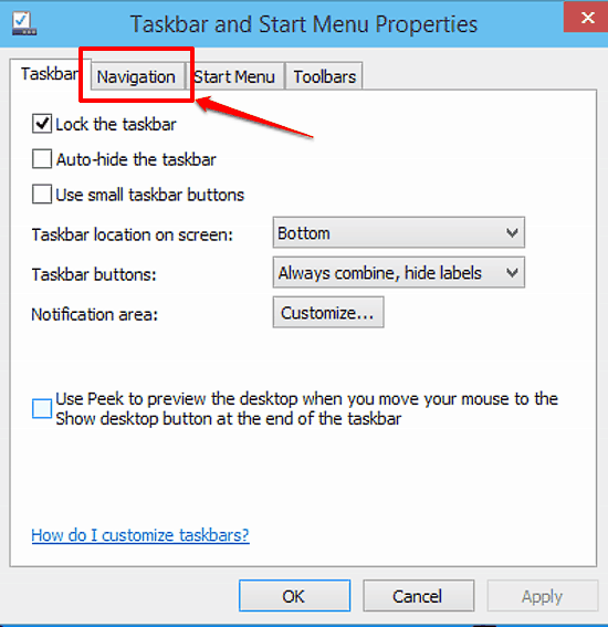taskbar and start menu properties dialog box