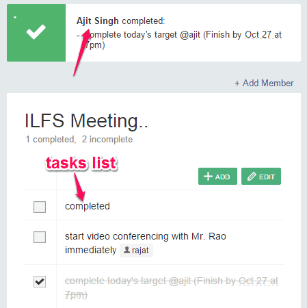to do list and response for completed task