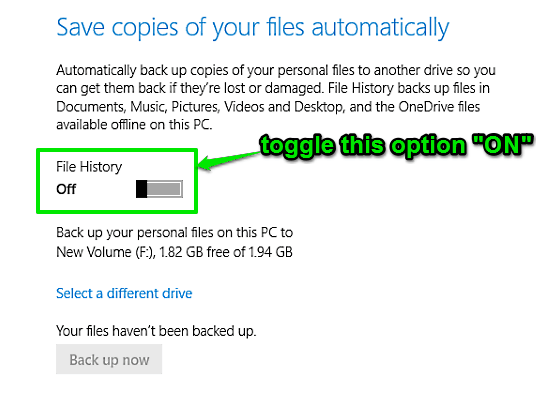 toggle file history on