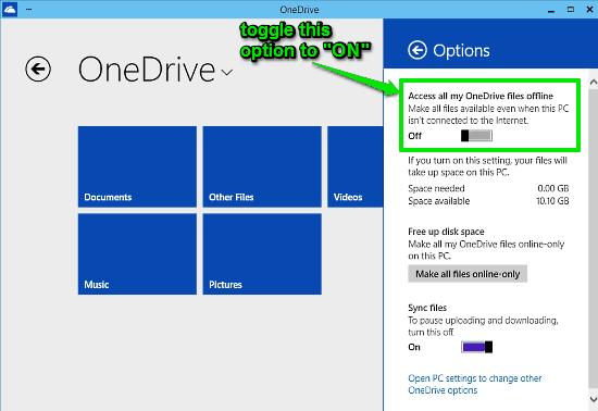 turn onedrive offline access on
