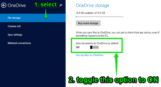 turn save documents to onedrive by default on