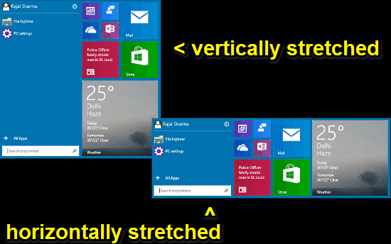 two variations of the start menu