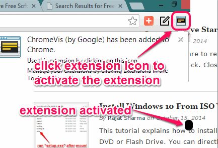 use extension icon or hotkey to activate the extension