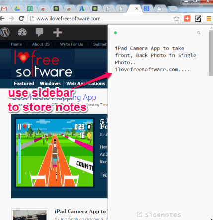 use sidebar to store notes