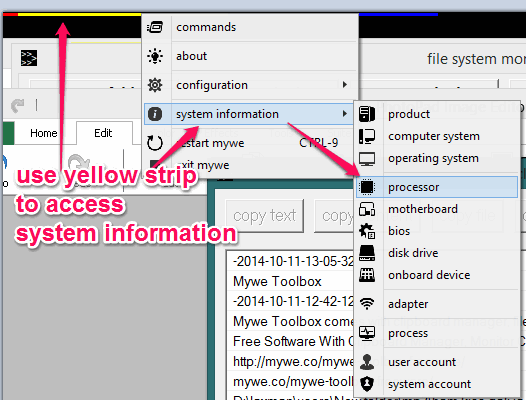 use yellow strip to access system information