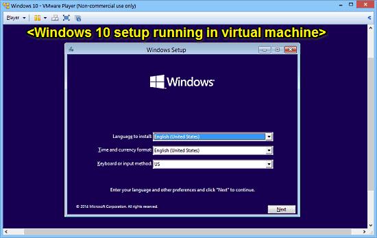 vmware player virtual machine running windows 10 setup