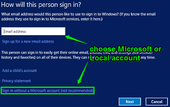 windows 10 choose account type