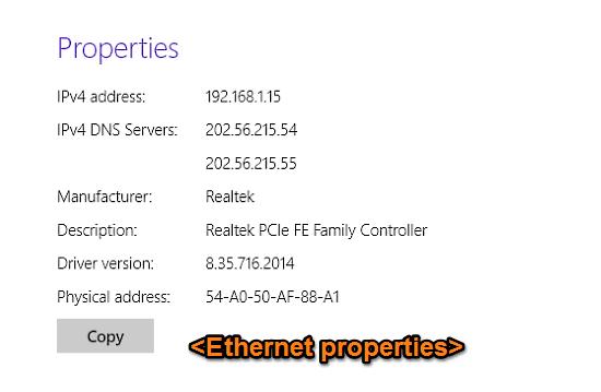 windows 10 ethernet properties
