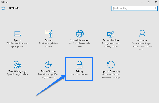 windows 10 modern settings privacy