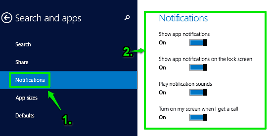 windows 10 notifications section