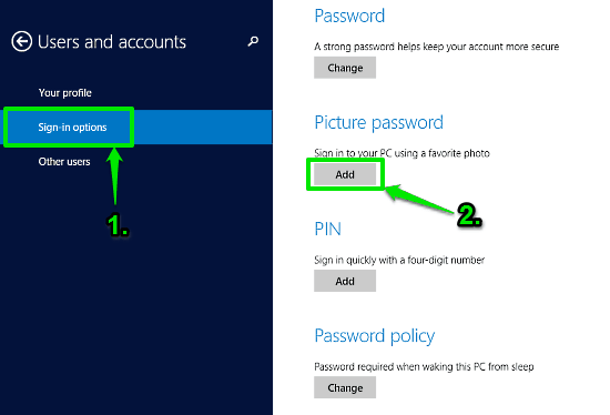 windows 10 picture sign-in options picture password