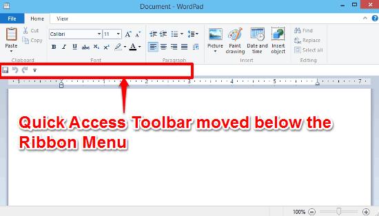 windows 10 quick access toolbar below the ribbon