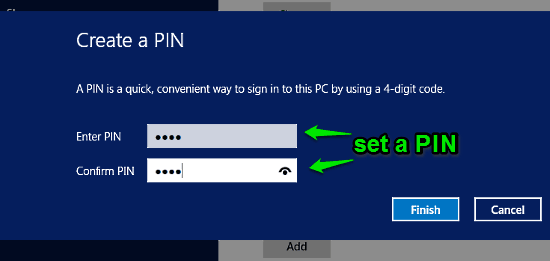 windows 10 set pin