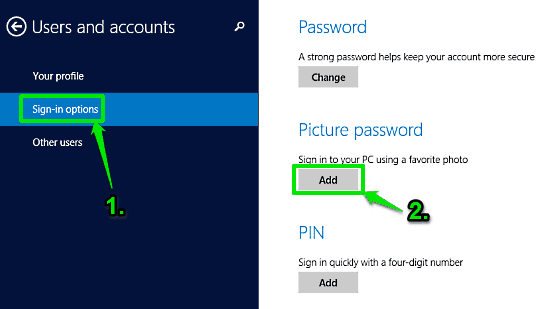 windows 10 user and accounts section
