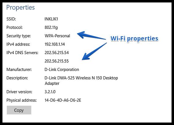 windows 10 wifi properties