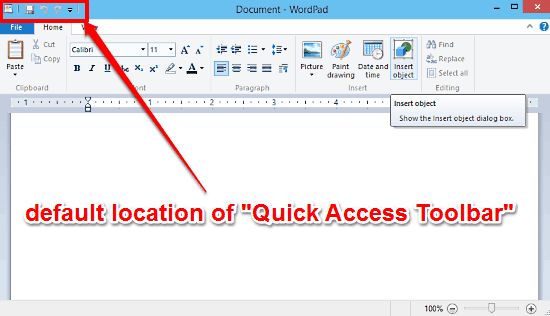 windows 10 wordpad quick access toolbar placement