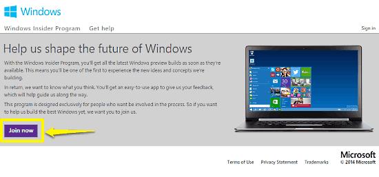 windows insider program homepage