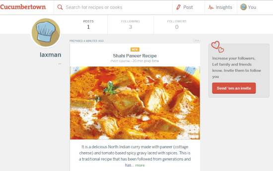 write recipes and publish online