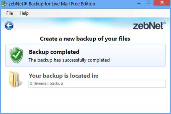 zebnet backup for livemail backup done