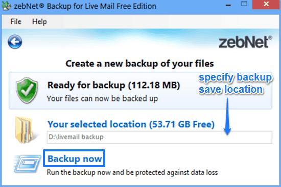zebnet backup for livemail backup prompt