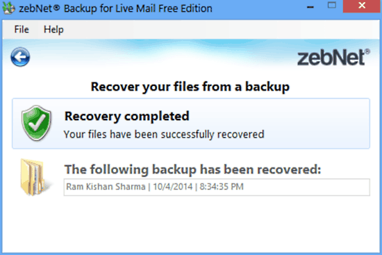 zebnet backup for livemail recovery done
