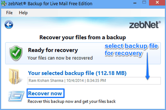 zebnet backup for livemail recovery prompt