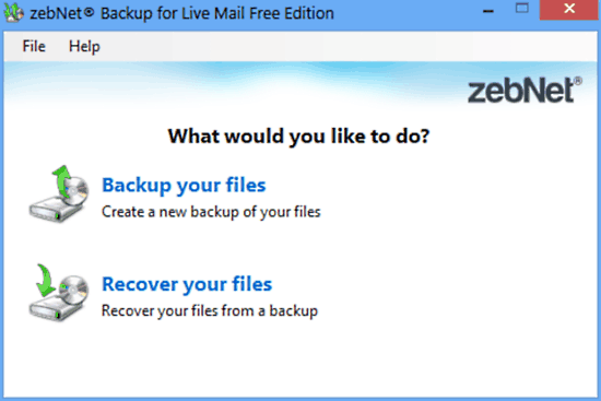 zebnet backup for livemail ui