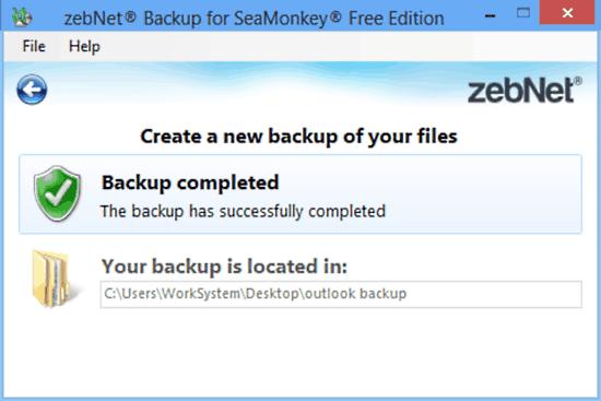 zebnet backup for seamonkey backup done