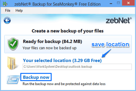 zebnet backup for seamonkey backup prompt
