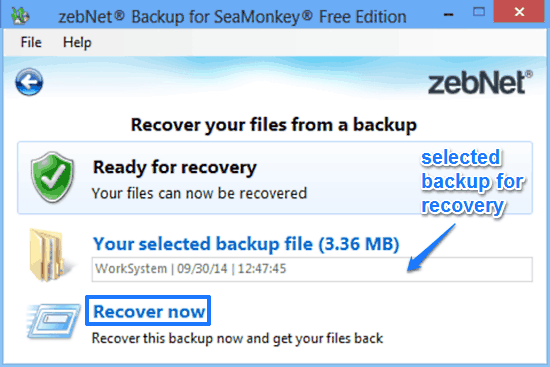 zebnet backup for seamonkey recovery prompt