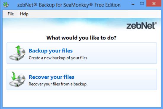 zebnet backup for seamonkey ui