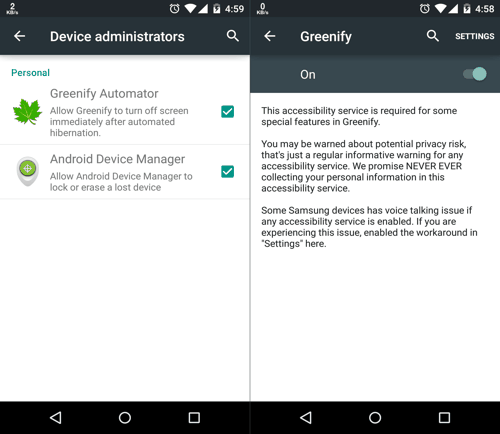 Accessibility Settings for Greenify