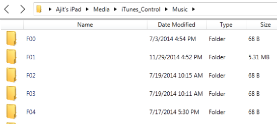 Folders Containing Music