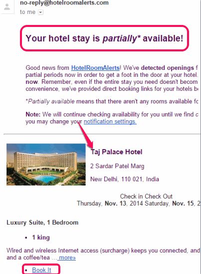 Hotel Room Alerts- get email and text alerts for hotel rooms
