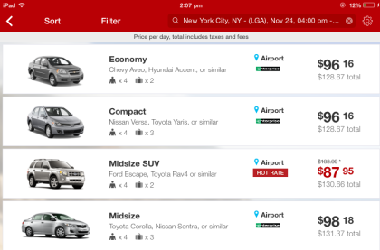 List of Cars Rental