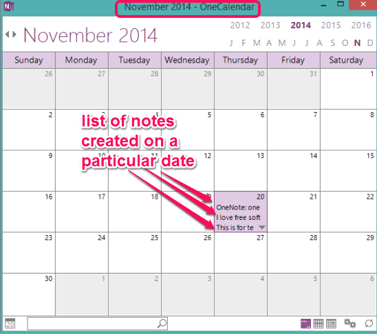 OneCal- view list of all notes of OneNote Notebooks in calendar