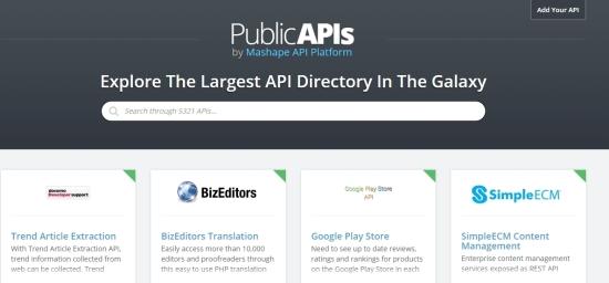 PublicAPIs Homepage