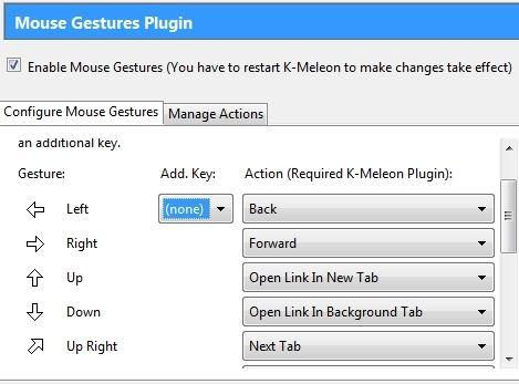 K-Meleon Mouse Gesture Configuration