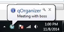 qOrganizer Desktop Notification