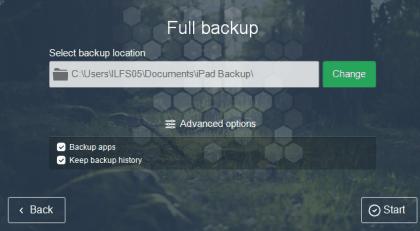 Set location for saving backup