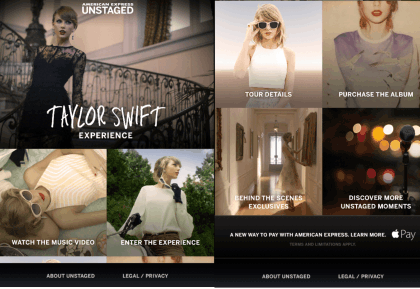 Taylor Swift App Home Page