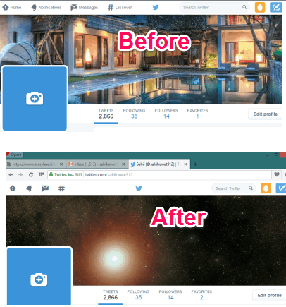 Twitter header photo before and after