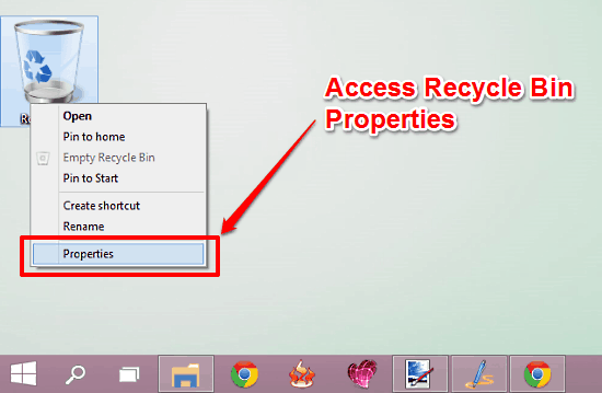 access recycle bin properties