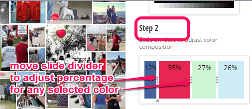 adjust percentage for selected colors