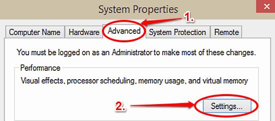 advanced performance settings
