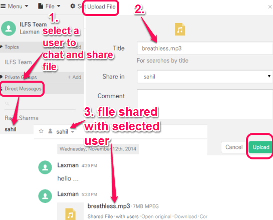 chat and share file with selected user