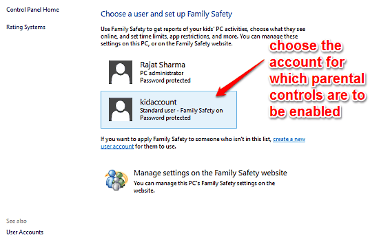 choose account for parental controls